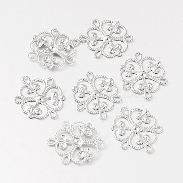 Flower 316 Surgical Stainless Steel Filigree Joiners, Chandelier Components, Stainless Steel Color, 19x17x1mm, Hole: 2x1mm(X-STAS-M256-04)
