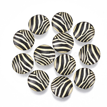 Alloy Snap Buttons, with Resin , Flat Round, Platinum, Black, 18x9.5mm; Knob: 5mm(RESI-R071-9)