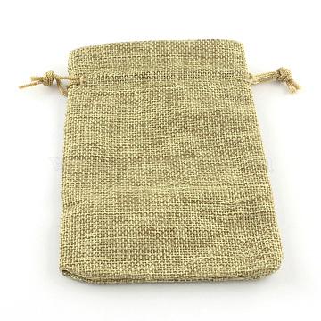 Polyester Imitation Burlap Packing Pouches Drawstring Bags, Dark Khaki, 18x13cm(X-ABAG-R005-18x13-01)