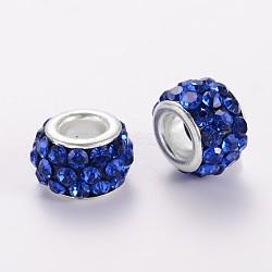 Perles européen avec strass en argile polymère, perles de rondelle avec grand trou , avec platine plaqué noyaux en alliage, saphir, 10~12x7mm, Trou: 5mm(X-CPDL-E038-10)