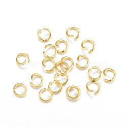 304 Stainless Steel Jump Rings, Open Jump Rings, Golden, 22 Gauge, 4x0.6mm