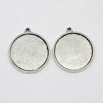 Tibetan Style Pendant Cabochon Settings, Plain Edge Bezel Cups, Double-sided Tray, Lead Free & Cadmium Free, Antique Silver, 33x29x4mm, Hole: 2mm; Flat Round Tray: 26mm(X-TIBEP-1811-AS-RS)