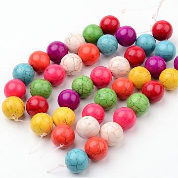 15mm Mixed Color Round Synthetic Turquoise Beads