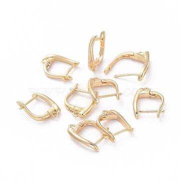 Accessoires de boucle d'oreilles en laiton, avec boucle, Plaqué longue durée, véritable plaqué or, 15.5x12x3mm, trou: 1.2 mm; broches: 0.8 mm(KK-L180-112G)