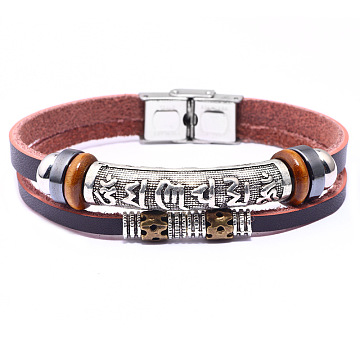Leather Cord Multi-strand Bracelets, with Synthetic Hematite, Alloy Findings and Stainless Steel Clasps, Om Mani Padme Hum, Mixed Color, 8-1/2inches(21.5cm)(BJEW-F352-13M)