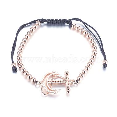 Adjustable Brass Braided Beaded Bracelets(BJEW-F282-22RG-RS)-2