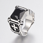 316 Stainless Steel Finger Rings, with Cubic Zirconia, Rectangle and Cross, Black, 19mm