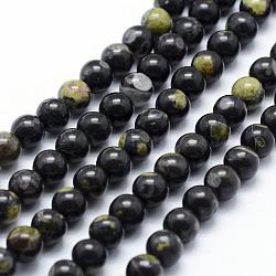 """Chapelets de perles en jaspe à pois verts naturels, rond, 6mm, trou: 1mm; environ 65 pcs/chapelet, 15.7"""" (40 cm)(G-P326-11-6mm)"""