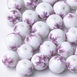 Perles de verre imprimées et peintes au pistolet, ronde avec motif de fleurs, Prune, 10~10.5x9.5mm, Trou: 1.6mm(GLAA-S047-02B-09)