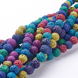lave naturelle brins de perles, teints, arrondir, coloré, 8 mm, trou: 1 mm, environ 50 pcs / brin, 15.7(X-G-D053-8mm-1)
