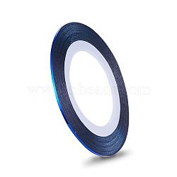 Autocollants pour lignes à laser ultra-minces, pour la conception d'art d'ongle, bleu, 0.8~1mm, 20m/rouleau(MRMJ-K006-03-04)
