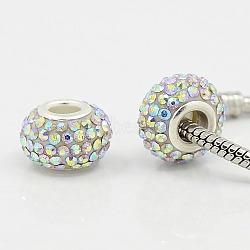 rondelle brillante qualité d'un strass perles européennes pour bricolage hotsale, grandes perles de trou, résine, avec ab claire, ame en laiton de couleur argent, ctystal + ab couleur, taille: environ 15 mm de diamètre, 10 mm d'épaisseur, trou: 5(X-CPDL-H001-10)