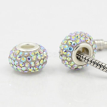 15mm Clear Rondelle Resin + Glass Rhinestone Beads