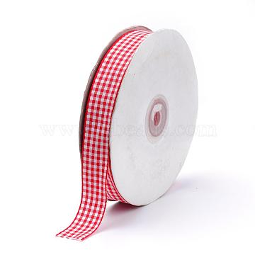 Polyester Ribbon, Tartan Ribbon, Red, 5/8 inch(16mm), about 50yards/roll(45.72m/roll)(SRIB-Q020-16mm-S002)