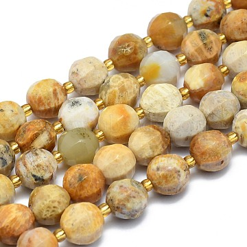 Natural Chrysanthemum Stone Beads Strands, Round, Faceted, 9~10mm, Hole: 1.4mm; about 34pcs/Strand, 15.16''(38.5cm)(G-K306-A07-10mm)