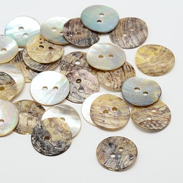 2-Hole Flat Round Mother of Pearl Buttons, Akoya Shell Button, Camel, 15x1mm, Hole: 2mm; about 2880pcs/bag(SHEL-N033-10)