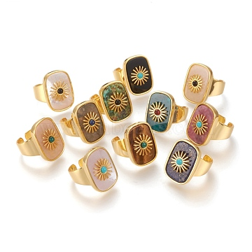Natural Gemstone or Natural Shell Cuff Rings, Open Rings, Long-Lasting Plated, Rectangle with Sun, Real 18K Gold Plated, Size 7, Inner Diameter: 17mm(RJEW-P016-01)