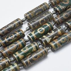 """Chapelets de perles de style tibétain, Perles d'agate naturelles, teints et chauffée, colonne, darkolivegreen, trou: 2mm; environ 10 pcs/chapelet, 13.7~14.1"""" (35~36 cm)(TDZI-I002-11E)"""