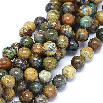 Natural Chrysocolla Beads Strands, Round, 10mm, Hole: 0.8mm; about 40~41pcs/strand, 15.3~16.3 inches(39.5~41.5cm)(G-F602-06-10mm)