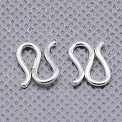 Argent sterling de les fermoirs de forme, s-crochet, argenterie, 12.5x9.5x1.5mm(STER-A009-28)
