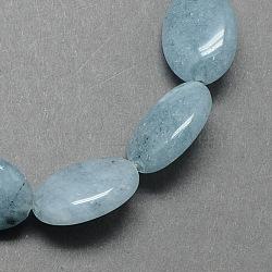 """Plat ovale en forme de perles de pierre gemme teinte bleu-vert naturel brins, paleturquoise, 18x13x6mm, trou: 2mm; environ 22 pcs/chapelet, 15.7""""(X-G-S113-10)"""