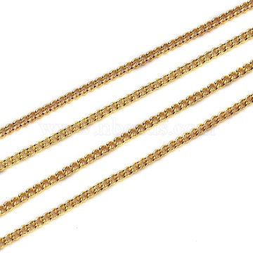 Brass Curb Chains, Long-Lasting Plated, Soldered, with Spool, Golden, 2x1.5x0.3mm(CHC-R133-G)