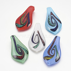 Gros pendentifs en verre dichroique manuels, feuille, couleur mixte, 60x33mm, Trou: 8mm(DICH-X031-M)