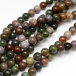 Natural Indian Agate Round Beads Strands, 4mm, Hole: 1mm; about 95pcs/strand, 15.3inches
