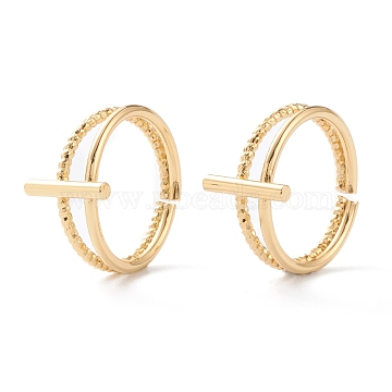 Brass Cuff Rings, Open Rings, Long-Lasting Plated, Bar, Real 18K Gold Plated, Inner Diameter: 17mm(RJEW-H131-05G)