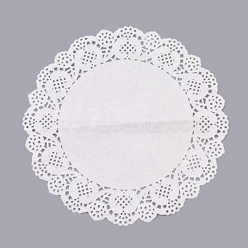 Practical Vintage Romantic Flower Embossed Paper Lace Doilies, Wedding Party Decoration, Flat Round, White, 26cm; about 140pcs/bag(AJEW-WH0041-12)