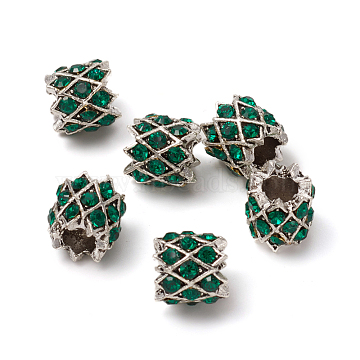 Antique Silver Plated Alloy European Beads, Large Hole Beads, with Rhinestone, Column, Emerald, 9.5x9.5mm, Hole: 4.5mm(MPDL-L030-K01-AS)