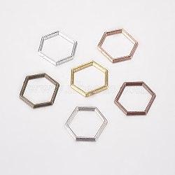 Anneaux connecteurs en alliage, hexagone, couleur mixte, 12x14x1mm(PALLOY-E446-06C)