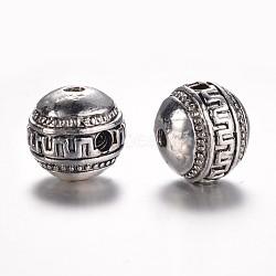 Perles en alliage de style tibétain avec 3 trou, perles t-percées, rond, argent antique, 16x14mm, Trou: 3mm(X-PALLOY-YC65926-AS)