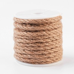 Corde de chanvre, chaîne de chanvre, ficelle de chanvre, pour la fabrication de bijoux, tan, 4 mm; environ 10 m/rouleau(OCOR-WH0029-A01)
