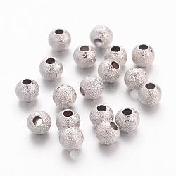 Perles en laiton texturées, rond, couleur de nickel, taille: environ 4mm de diamètre, Trou: 1mm(EC247)