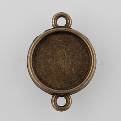 античная бронза Тибетский сплав стиль плоские круглые двусторонние параметров соединителя кабошон, никель свободный, лоток: 12 мм; 21x15x3 мм, отверстия: 2 mm(X-TIBE-M022-03AB-NF)