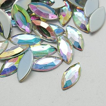 Imitation Taiwan Acrylic Rhinestone Canbochons, Flat Back & Faceted, Horse Eye, AB Color, Clear AB, 15x7x1.8mm; about 2000pcs/bag(GACR-A021-7x15mm-17)