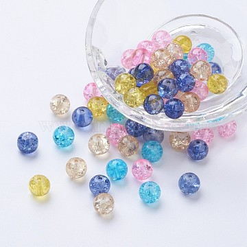Baking Painted Crackle Glass Beads, Pastel Mix, Round, Mixed Color, 8~8.5x7.5~8mm, Hole: 1mm; about 100pcs/bag(DGLA-X0006-8mm-04)