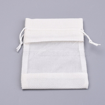 Cotton Packing Pouches, Drawstring Bags, with Organza Ribbons, Creamy White, 14~15x10~11cm(X-OP-R034-10x14-12)