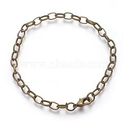 Fabrication de bracelet en chaîne de câble en bronze, avec fermoir pince de homard, 205 mm; fermoir: 12x7x3 mm; lien: 7x4.5x1 mm(X-IFIN-H031-AB)