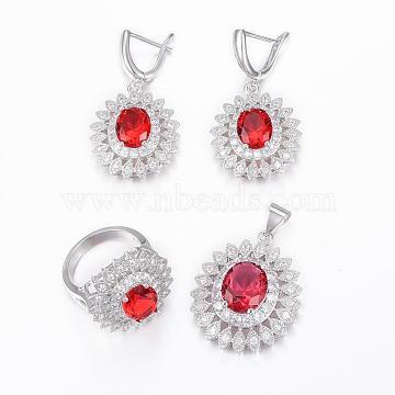 Trendy Brass Micro Pave Cubic Zirconia Jewelry Sets, Pendants & Hoop Earrings & Finger Rings, Oval, Platinum, FireBrick, Size 6~10(16~20mm), 36x24.5x10mm, Hole: 6x4mm, 40x21x9mm, Pin: 1mm(SJEW-H078-M-22)