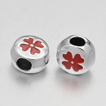 10mm Red Flat Round Alloy + Enamel Beads