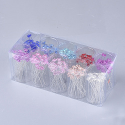 вилки железа волос, с стразами, цветок, cmешанный цвет, 67~67.5 мм; около 200 шт / коробка(OHAR-S200-04-B)