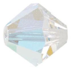 Perles de verre tchèques, facette, Toupie, clair ab, couleur ab , 6 mm de diamètre, Trou: 0.8mm, 144 pcs / brut(302_6mm101)