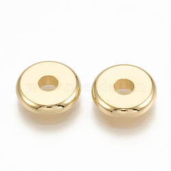 Brass Spacer Beads, Flat Round, Real 18K Gold Plated, 10x2.5mm, Hole: 2.5mm