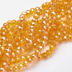 Electroplate Glass Beads Strands, AB Color Plated, Faceted, Rondelle, Orange, 6x4mm, Hole: 1mm, about 100pcs/strand, 16 inches(X-EGLA-D020-6x4mm-51)