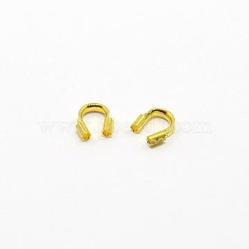 Brass Termintors, Wire Guardian, Nickel Free, Golden Color, 5x4x1mm(KK-A052-G-1)