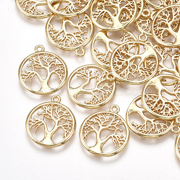 Brass Pendants, Flat Round with Tree of Life, Real 18K Gold Plated, 18x15x1.5mm, Hole: 1.2mm(X-KK-T035-87)