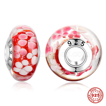 16mm Red Rondelle Lampwork Beads