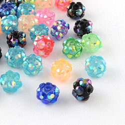 Chunky Resin Rhinestone Beads, Resin Round Beads, Mixed Color, 8mm, Hole: 1.5mm(RESI-M019-8mm-M)